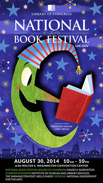 The moon looks so happy to be staying up late to read! Artwork by Bob Staake. Via loc.gov/bookfest/